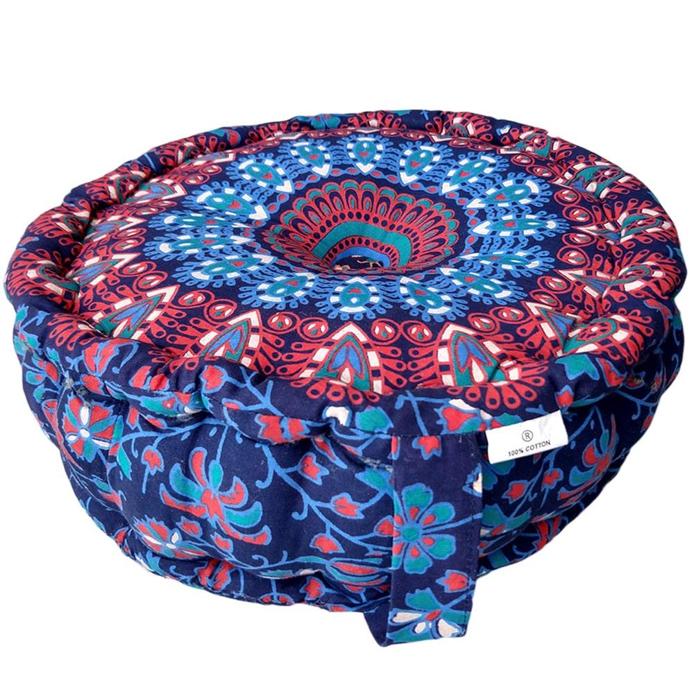 Mandala Meditation Round Handle Cushion Cotton Filled, Floor pillow, Meditation pillow