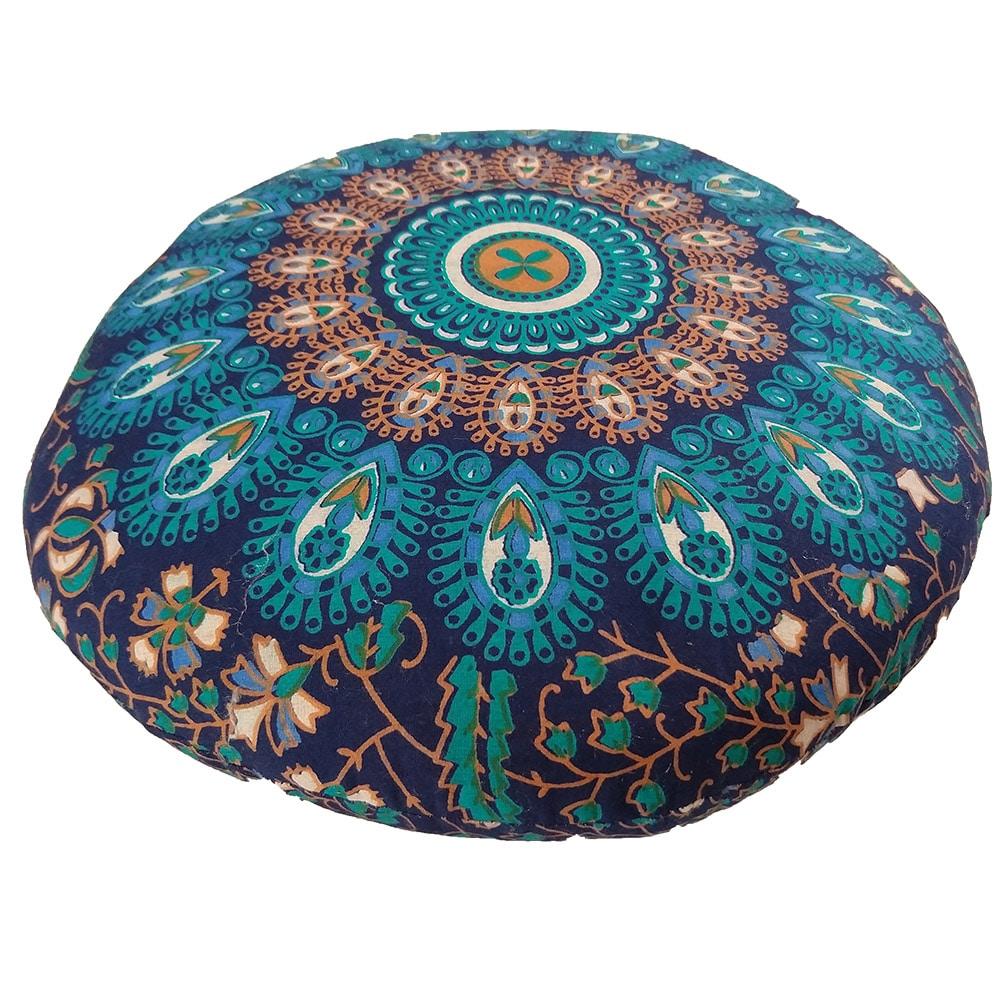 Mandala Meditation Round Cushion Cotton Filled, Floor pillow, Meditation pillow