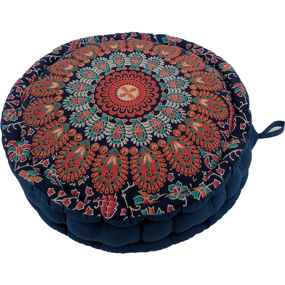 Mandala Meditation Round Cushion Cotton Filled, Floor pillow, Meditation pillow