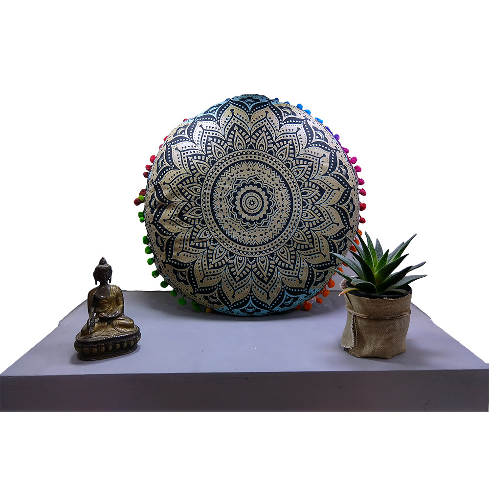 Fluorescent Meditation Round Cushion Cotton Filled, Floor pillow, Meditation pillow