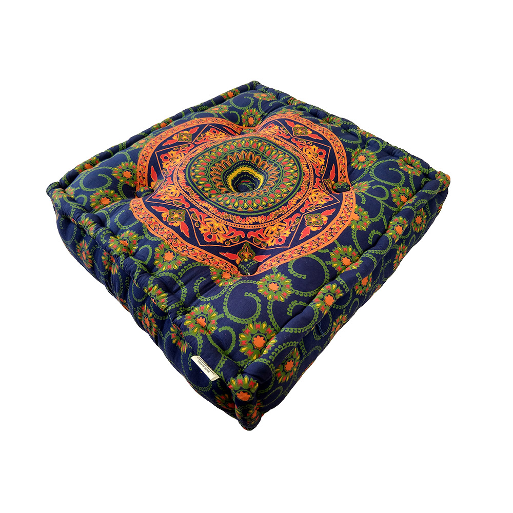 Mandala Meditation Square cushion Cotton Filled, Floor pillow, Meditation pillow