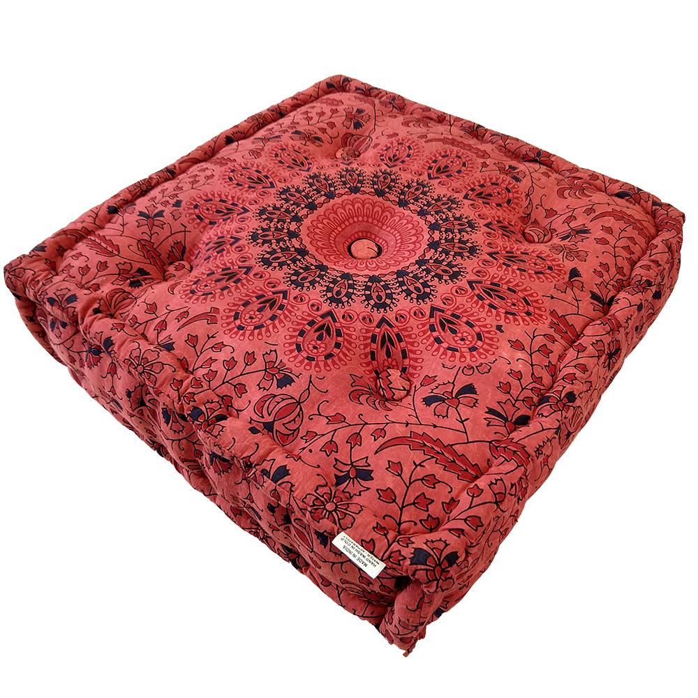 Mandala Stone Wash Meditation Square Cushion Cotton Filled, Floor pillow, Meditation pillow