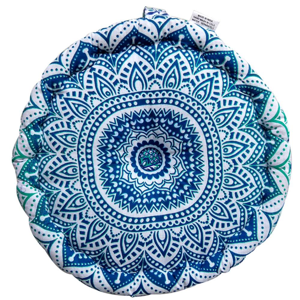 Ombre Meditation Round Handle Cushion Cotton Filled, Floor pillow, Meditation pillow